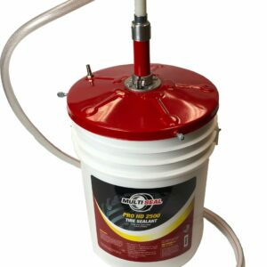 5 gallon red pail pump installed on top of a pail of Pro HD 2500 Tire Sealant